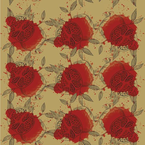 Pomegranate fruit vector pattern. Vintage design template background