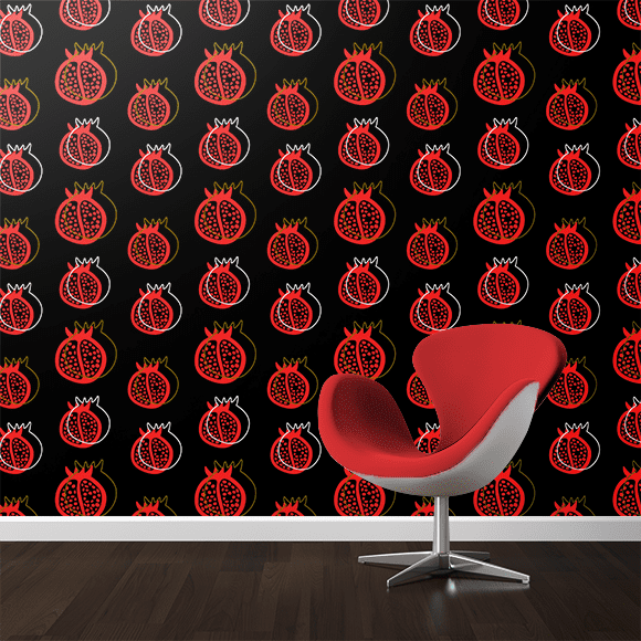 Pomegranate Vector Pattern On Wall