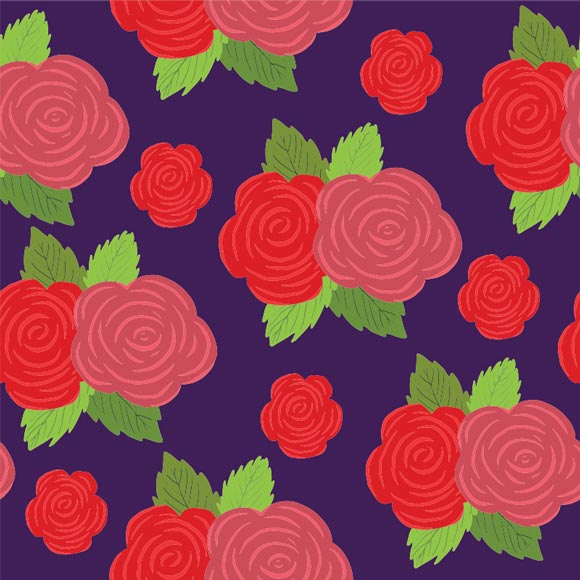 Red rose flowers with leaves on blue background