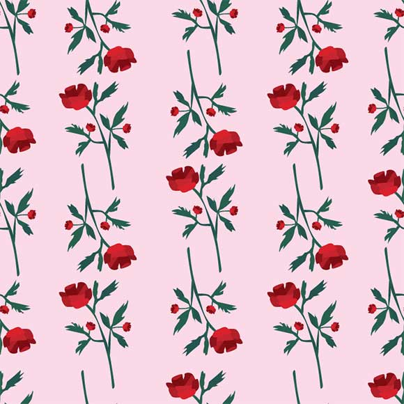 Red rose flowers seamless vector pattern