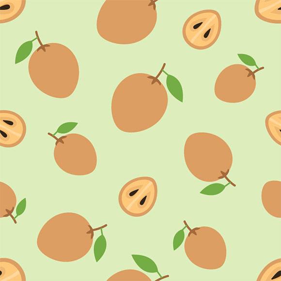 Sapodilla fruit seamless vector pattern. Whole and sliced background