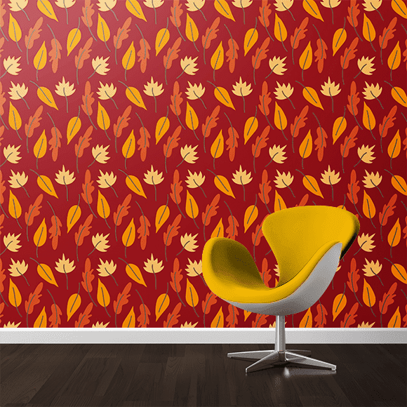 Seamless Autumn Pattern on wall texture. Yellow colour chair.