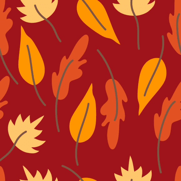 Seamless Autumn Pattern on Brown color background