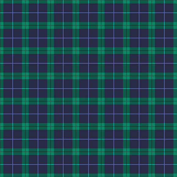Green plaid checks on blue background. Seamless vector pattern