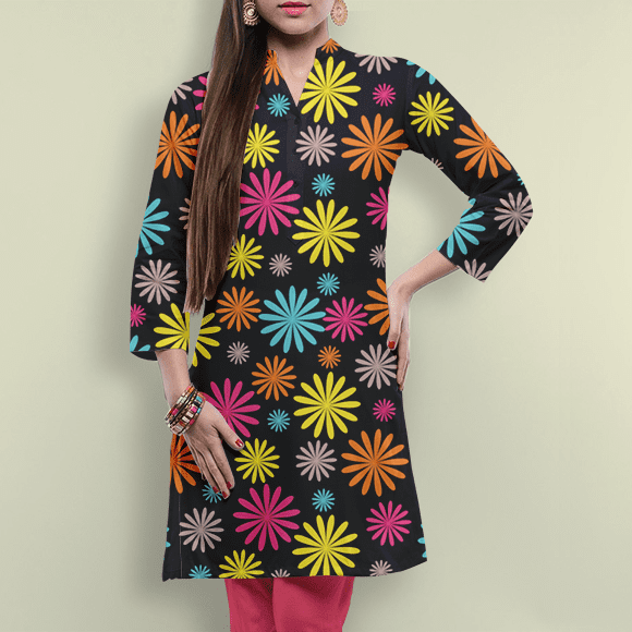 Colourful Seamless Floral Dress