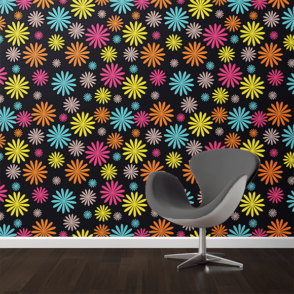 Colourful Seamless Floral Wall Texture