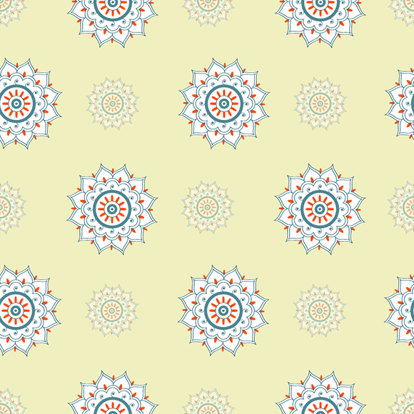 Light Yellow Floral Seamless Ethnic Pattern
