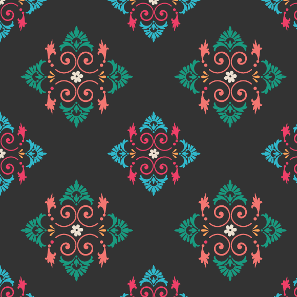 Seamless Ethnic Pattern with Black Background