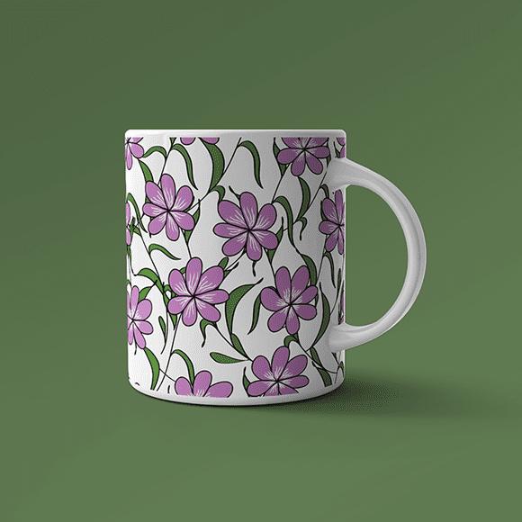 Blue Jasmine Flowers Designed Coffee Mug