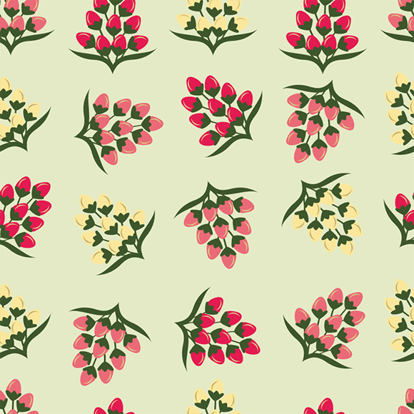 Red and Yellow Seamless Floral Pattern