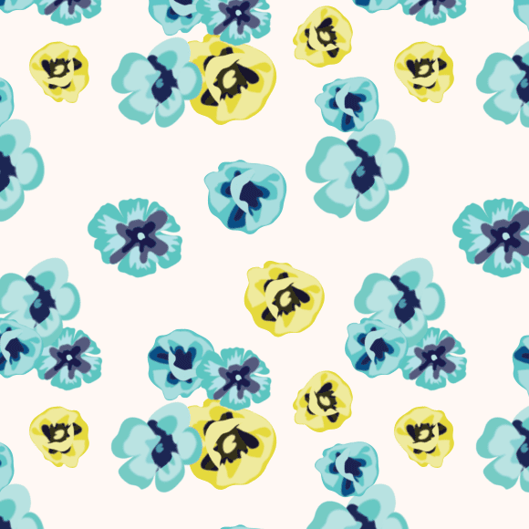 Blue and yellow daffodil, anemone flowers seamless vector pattern
