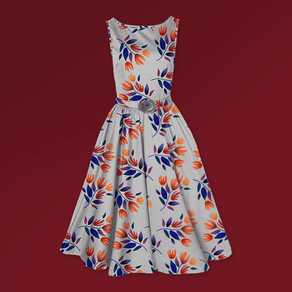 Botanical Flowers Print Ladies Dress