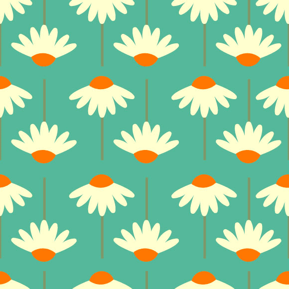 White flowers seamless vector pattern