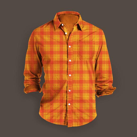 Orange and Bright Red Plaid Seamless Shirt.