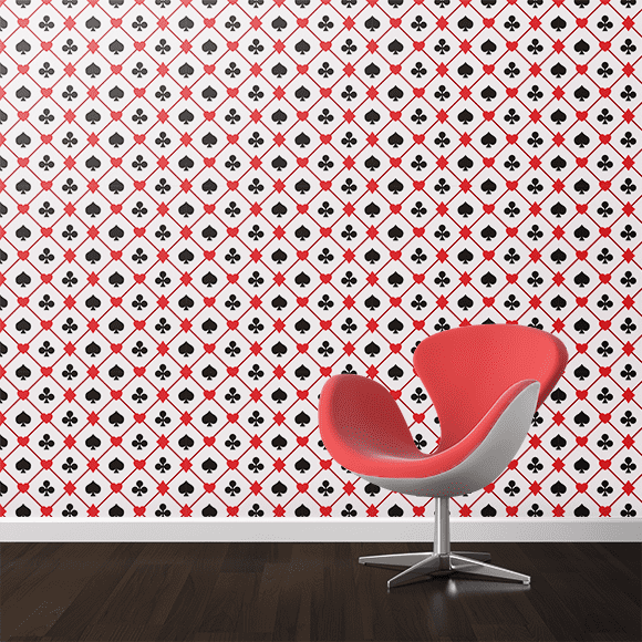 Seamless Playing Card Suits Design On Wall