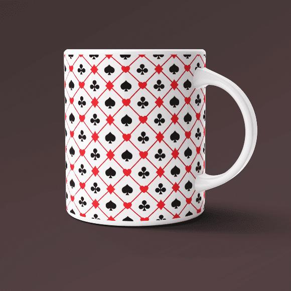 Seamless Playing Card Suits Design on Coffee Mug