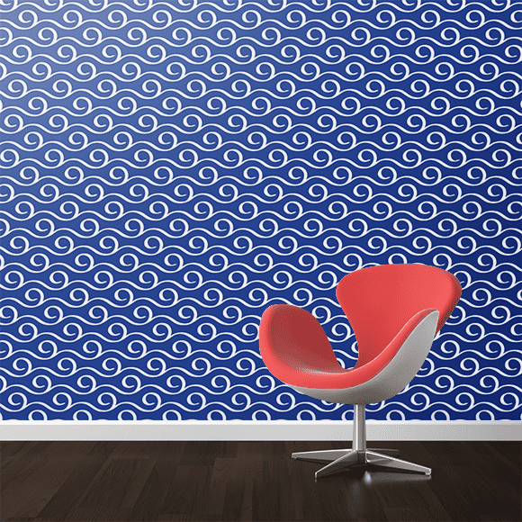Seamless Sea Wave Pattern on Wall Texture