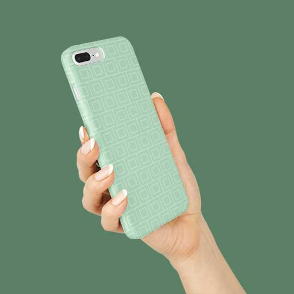 Mobile cover with green colour square pattern