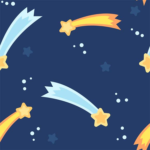 Blue & yellow shooting stars seamless vector pattern