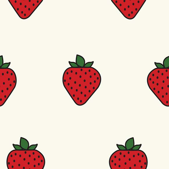 Strawberry with leaves seamless vector pattern. Flat design background