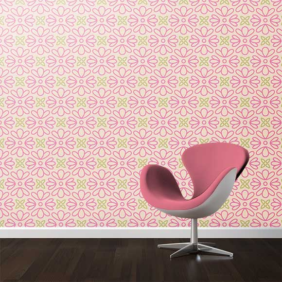 Pink Abstract Flowers Wall Texture, Chair.