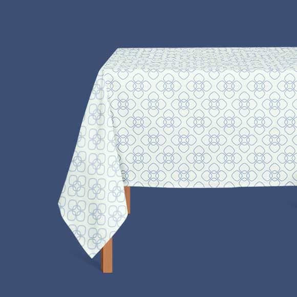 table cloths with rounded square printe