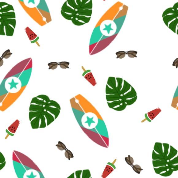 Summer beach elements seamless vector background pattern