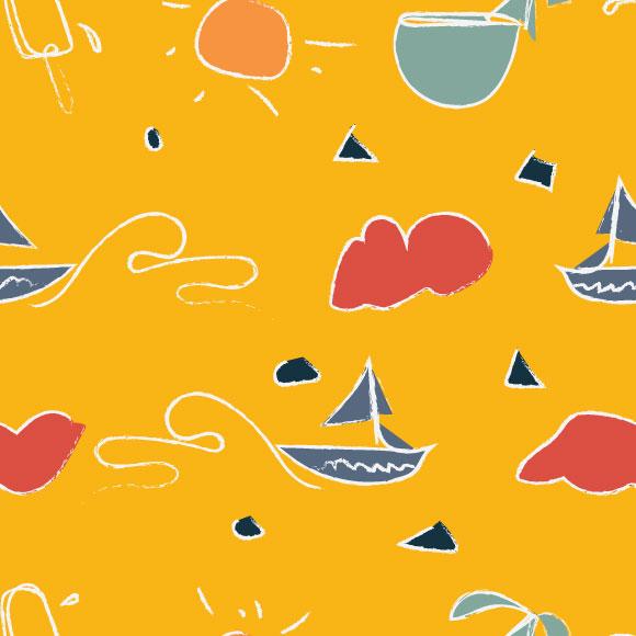 Summer doodle art vector pattern. Hand drawn naïve artwork background