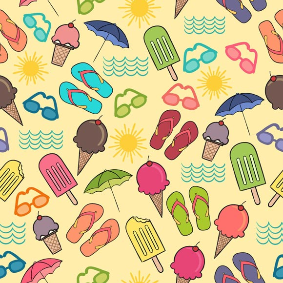 Summer elements sunglass, ice cream, slippers, umbrella icons printed on yellow background
