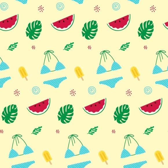 Summer travel elements bikini ice cream watermelon palm leaf print beach background