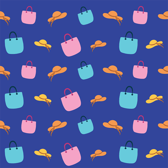 Colorful handbags and hats seamless vector pattern. Summer wear design