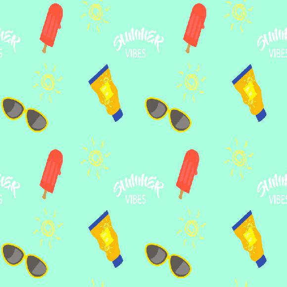 Summer vibes pattern with sun, sunglasses, sun cream, ice cream