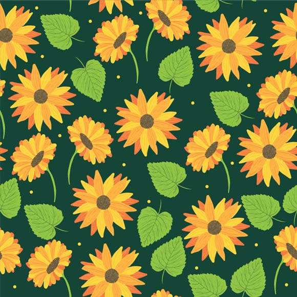 Sunflowers and palm leaves printed on green background