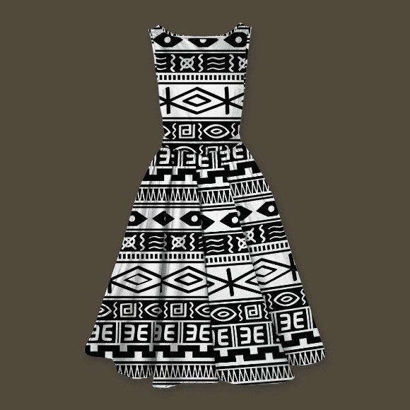 Black and White Tribal African Seamless Background Ladies Dress