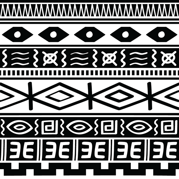 Black and White Tribal African Seamless Background
