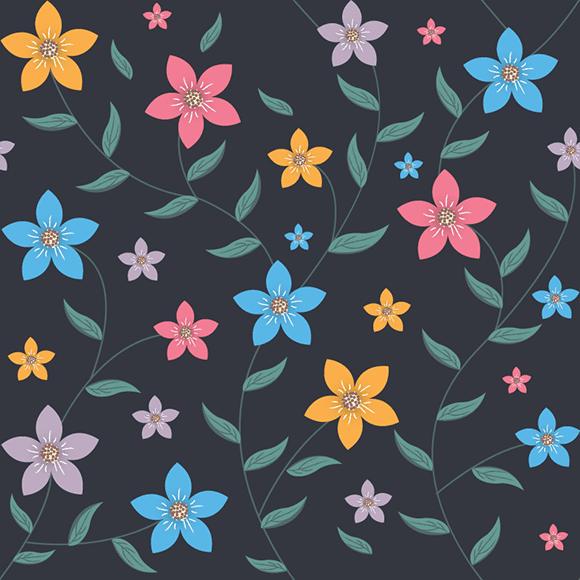 Multicolour Tropical Flower Pattern