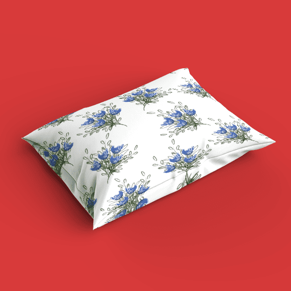 Blue Flower on White Background Pillow Cover
