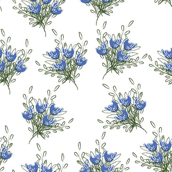 Bunch of blue tulips flowers with leaves seamless vector pattern