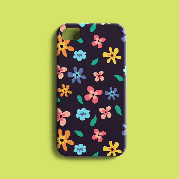 Phone Printed with Multicolour Anemone Flowers