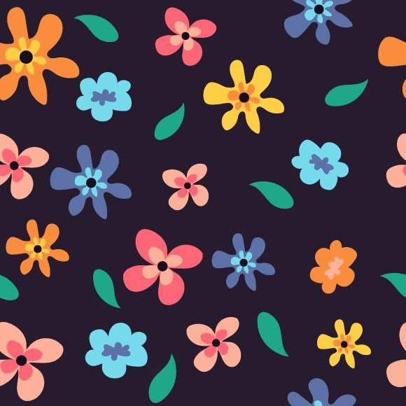 Colorful anemone flowers seamless vector pattern