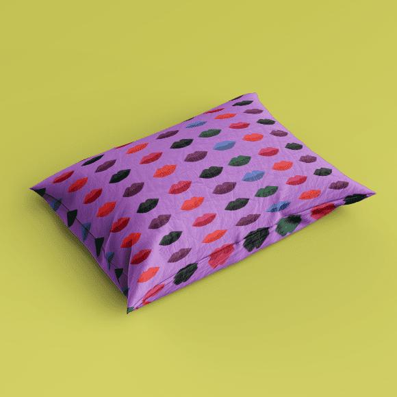 Artistic Lip Mark Pattern, Pillow Cover