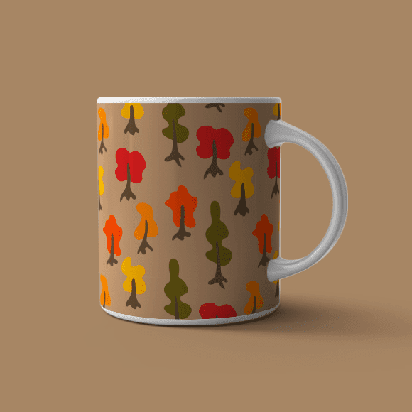 white handle coffee mug with cartoon tress