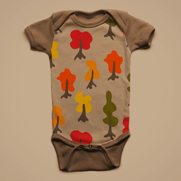 kids t-shirt with cartoon red, orange, yellow, green colour trees