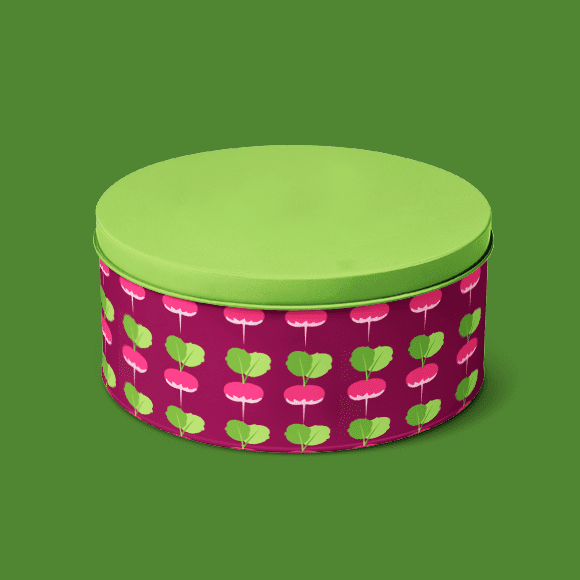 Seamless Turnip Pattern on Tiffin Box with Green Colour Cap