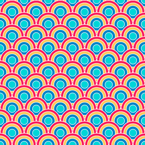 Colorful round circles seamless vector pattern