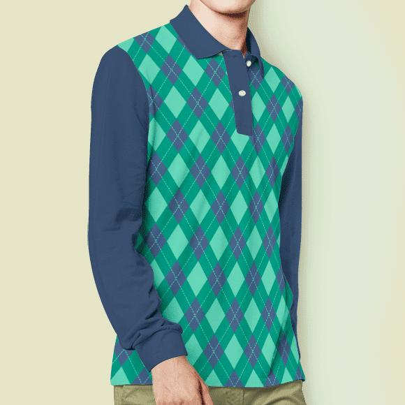 lemon green vintage argyle print, full hands boy t-shirt.