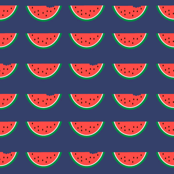 Watermelon slice seamless vector pattern. Flat design fruit background