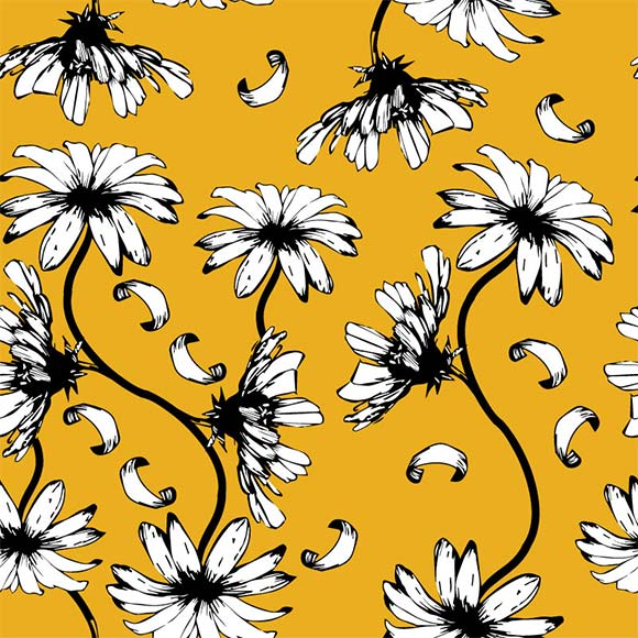White daisy flower vector pattern