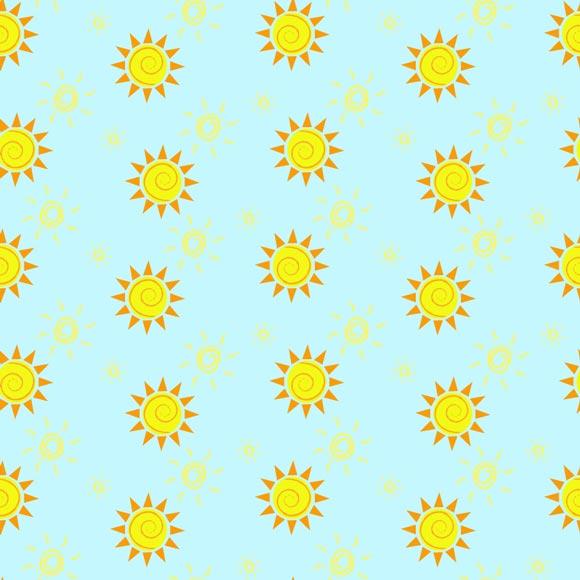 Yellow sun summer on blue background