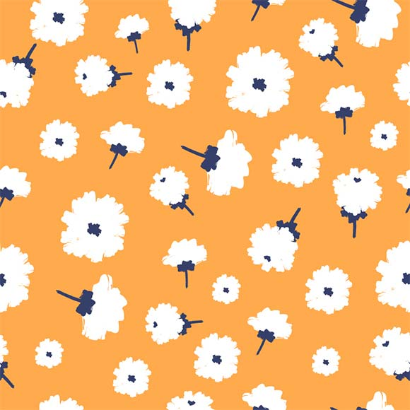 White zinnia flower seamless vector pattern